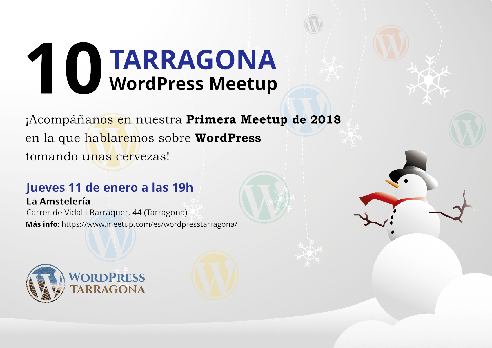 Cartell WordPress and Beers Enero 2018